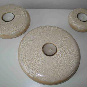 Beige met witte stippen set ronde theelichtjes